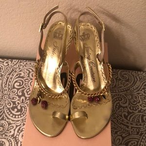 Juicy couture gold heels with cherry charms